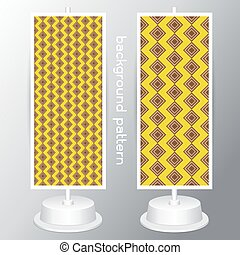 vector Yellow and White Geometric Patterns. Retro Mod Backgrounds in Jumbo Polka Dot, Diamond Lattice, Scallops, Quatrefoil and Chevron Patterns. Pattern Swatches made with Global Colors geometrical abstract seamless pattern on gray background