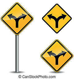 Vector yellow arrows sign