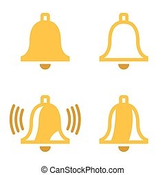 Vector yellow bell icons set