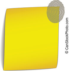 vector yellow bend paper with fingerprint