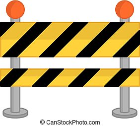 Vector Yellow, Black and Striped Road Barrier