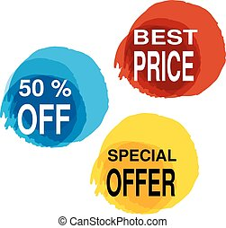 Vector yellow, blue and red blot with business text. Button with 50 off, best price, special offer.