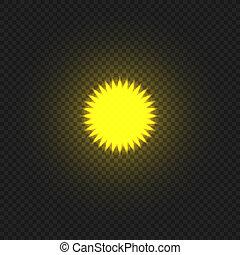 Vector Yellow Bright Sun on Dark Background, Decorative Element.
