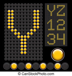 yellow button letters