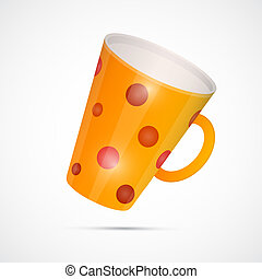 Vector Yellow Cup With Red Dots Isolated on White Background