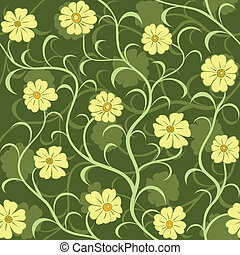 yellow flower field seamless background pattern