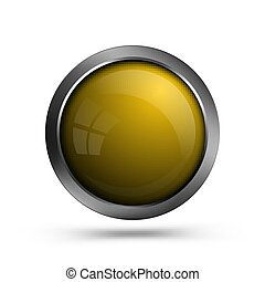 Vector yellow glass button.