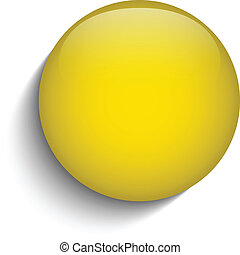 Yellow Glass Circle Button on White Background