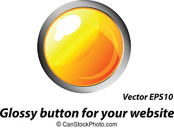 Vector yellow glossy button
