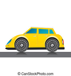 vector yellow glossy car icon.