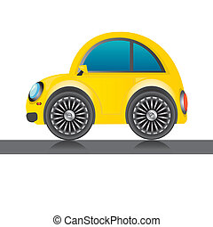 vector yellow glossy car icon. toy car. kids background.