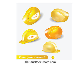 vector yellow helmet set.  isolated object