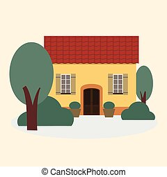 Vector yellow house with a tiled roof.