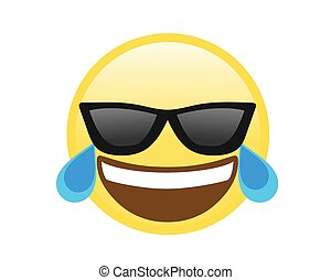 Vector yellow laughing face with black sunglasses flat icon