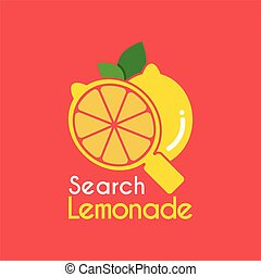 Vector Yellow Lemon Search logo design template.