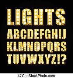 Vector yellow neon lamp letters font show casino or theather...