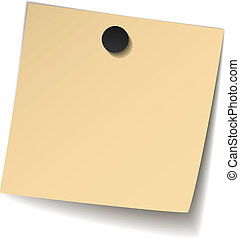vector yellow note paper with magnet