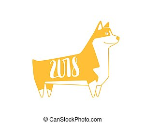 Vector yellow numbers 2018 with dog