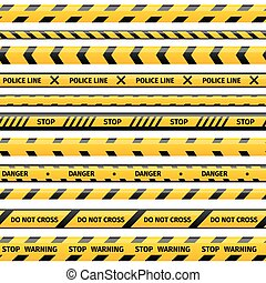Vector yellow plastic caution tape or warning set