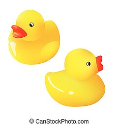Vector Yellow Rubber Ducks Collection. Isolated On White Background