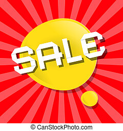 Vector Yellow Sale Bubble Icon on Red Backgound