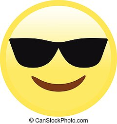 Vector yellow smiley face with black sunglasses flat icon
