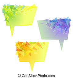 Vector yellow speech bubbles with triangles