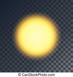Vector yellow sun. Shiny object on transparent like...