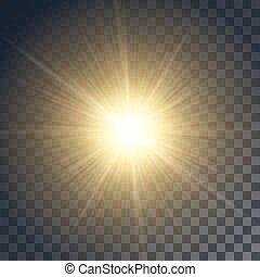 Vector yellow sun with rays and glow on transparent like...