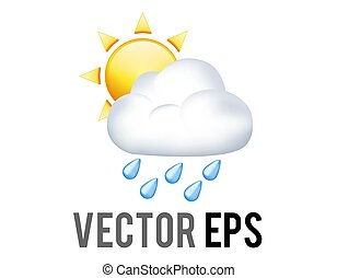 Vector yellow sun half icon covered by rain cloud with blue raindrops