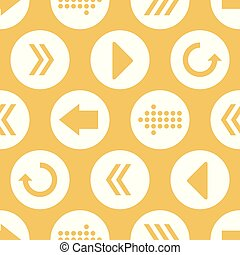 Vector Yellow White Arrow Circles Seamless Pattern Background