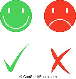 Vector Yes and No check symbol marks.