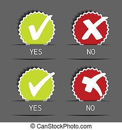 Vector yes no circular label - check mark symbol