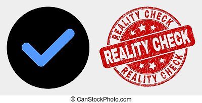 Vector Yes Tick Icon and Grunge Reality Check Stamp