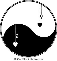 vector ying yang symbol with heart and astronomical sign Venus, Mars