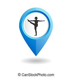 Blue map pointer with a woman in an yoga pose