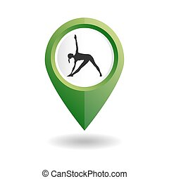 Green map pointer with a woman in an yoga pose