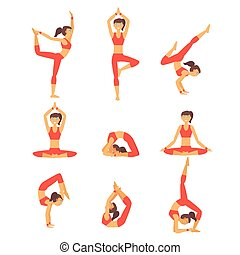 Vector yoga illustration Healthy lifestyle.