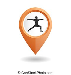 Orange map pointer with a man in an yoga pose
