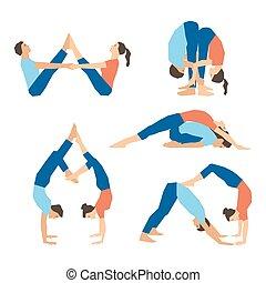 Vector yoga illustration. Set of yoga asanas for couple yoga on a white backdrop. Yoga with partner. Illustration for yoga class, yoga studio, fitness center, advertising, websites, yoga magazine.