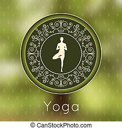 Yoga poster with floral ornament and yogi silhouette. -...