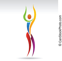 Vector Yoga Person standing arm reach pose. People shape