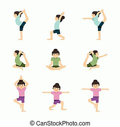 Vector yoga set illustration. girl yoga exercises. in lesson...