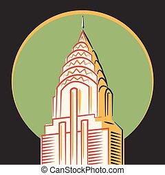 vector, york, chrysler, minimalistic, icono, nuevo, edificio
