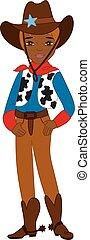 Vector Young African American Cowboy