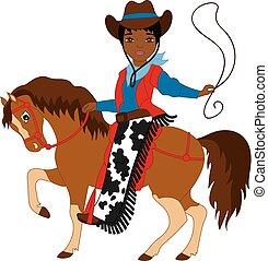 Vector Young African American Cowboy Riding a Horse
