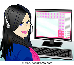 vector young beautiful girl telephone operator - beautiful...