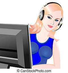 vector young beautiful girl telephone operator