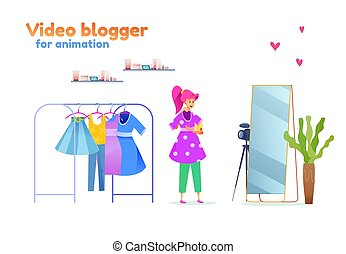 Vector young girl fashion blogger outfit stylist