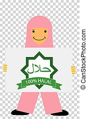 Young Girl - Holding a Halal Sign